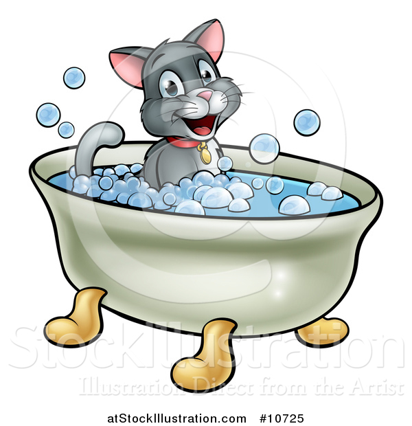 Vector Illustration of a Cartoon Happy Cat Sitting in a Bath Tub