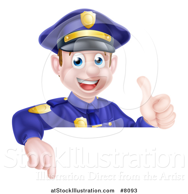 Vector Illustration of a Cartoon Happy Caucasian Male Police Officer Giving a Thumb up and Pointing down over a Sign