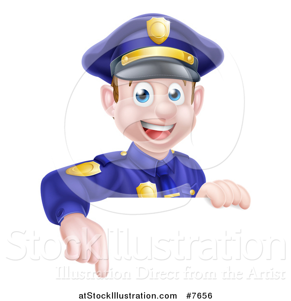 Vector Illustration of a Cartoon Happy Caucasian Male Police Officer Pointing down over a Sign