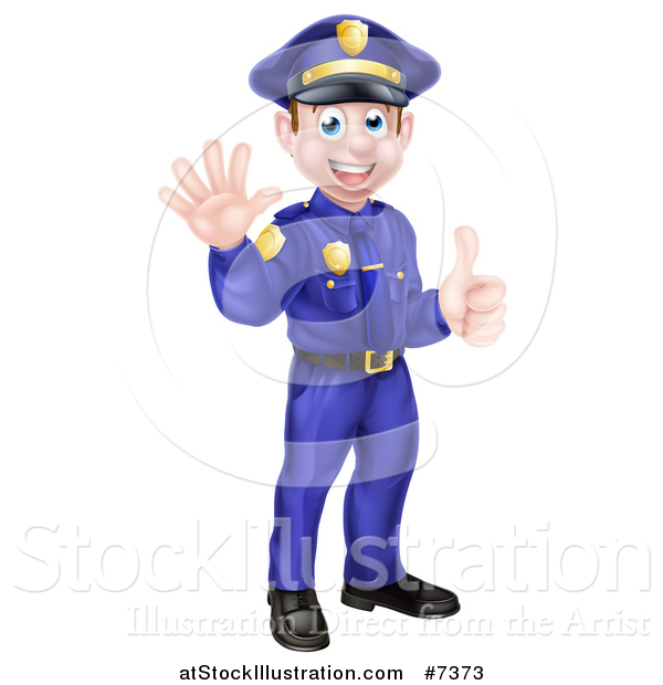 Vector Illustration of a Cartoon Happy Caucasian Male Police Officer Waving and Giving a Thumb up