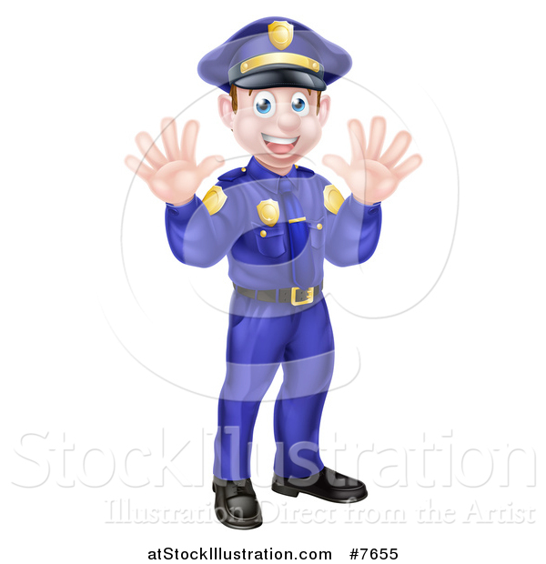 Vector Illustration of a Cartoon Happy Caucasian Male Police Officer Waving with Both Hands
