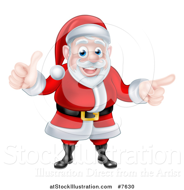 Vector Illustration of a Cartoon Happy Christmas Santa Claus Giving a Thumb up and Pointing to the Right 2