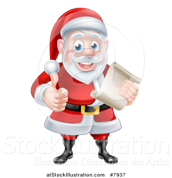 Vector Illustration of a Cartoon Happy Christmas Santa Claus Holding a Parchment Scroll and Giving a Thumb up