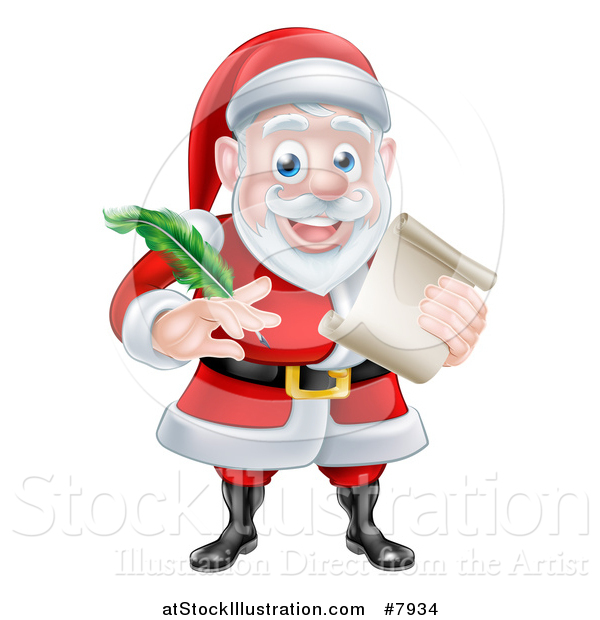 Vector Illustration of a Cartoon Happy Christmas Santa Claus Holding a Parchment Scroll and Quill Pen