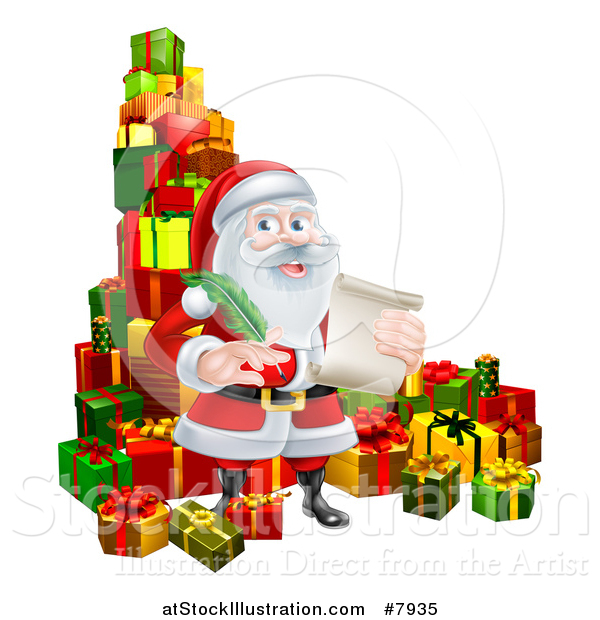 Vector Illustration of a Cartoon Happy Christmas Santa Claus Holding a Parchment Scroll and Quill Pen in a Pile of Gifts