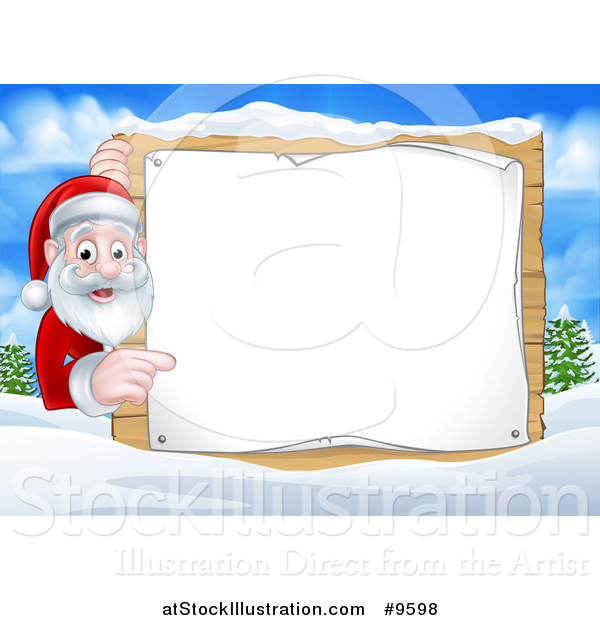 Vector Illustration of a Cartoon Happy Christmas Santa Claus Pointing Around a Sign in a Winter Landscape