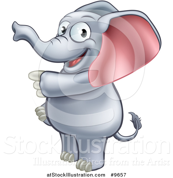Vector Illustration of a Cartoon Happy Elephant Standing and Pointing