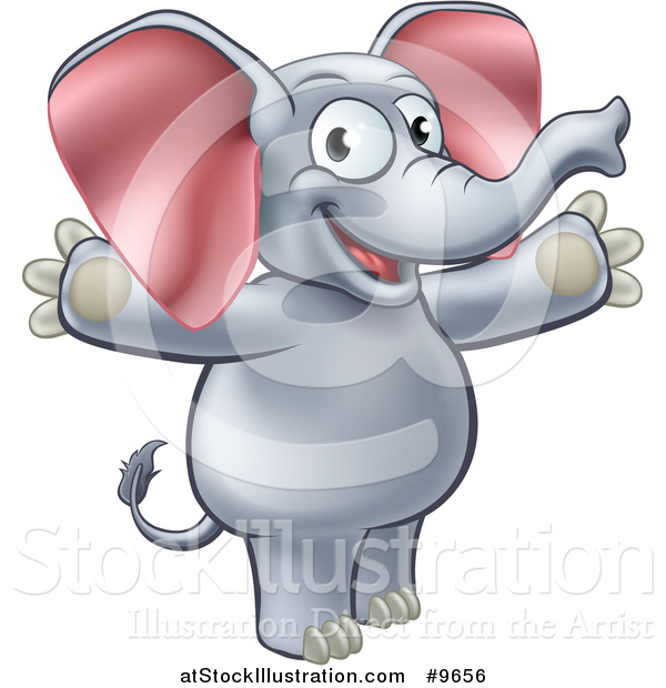 Vector Illustration of a Cartoon Happy Elephant Welcoming with Open Arms