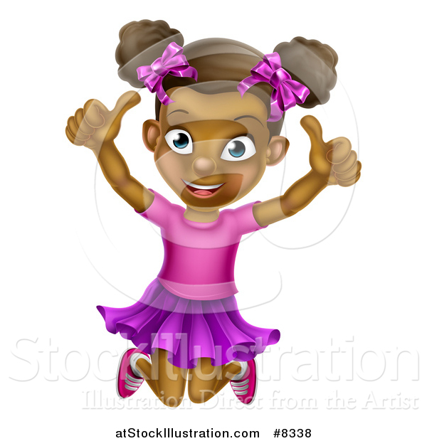 Vector Illustration of a Cartoon Happy Excited Black Girl Jumping and Giving Two Thumbs up