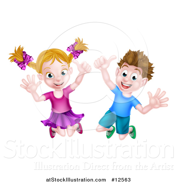 Vector Illustration of a Cartoon Happy Excited Blond Caucasian Boy and Girl Jumping