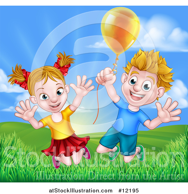 Vector Illustration of a Cartoon Happy Excited Blond Caucasian Boy and Girl Jumping Outdoors with a Balloon