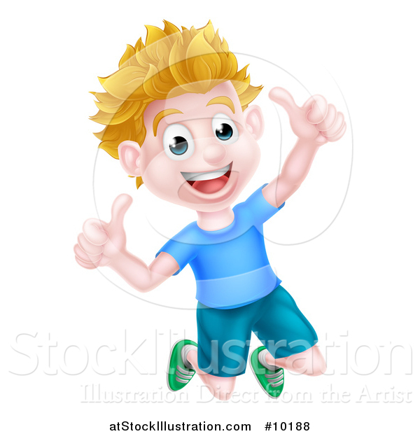 Vector Illustration of a Cartoon Happy Excited Blond Caucasian Boy Jumping and Giving Two Thumbs up