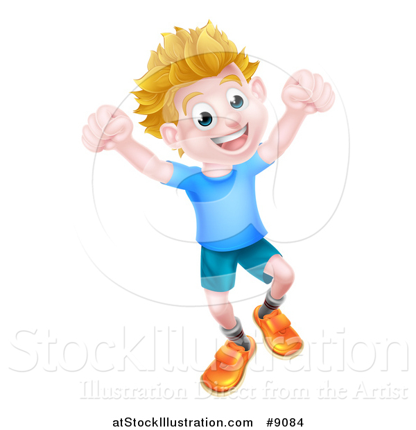 Vector Illustration of a Cartoon Happy Excited Blond Caucasian Boy Jumping