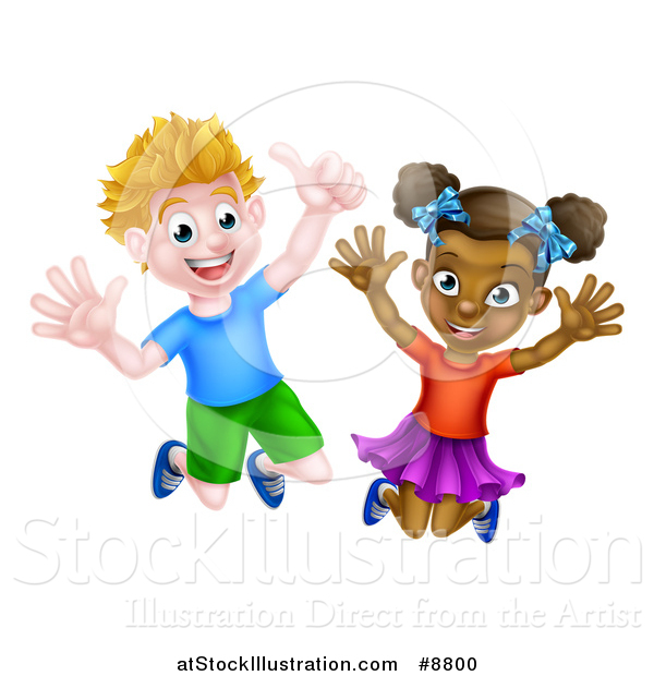 Vector Illustration of a Cartoon Happy Excited White Boy and Black Girl Jumping