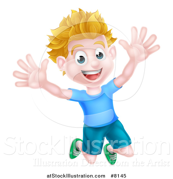 Vector Illustration of a Cartoon Happy Excited White Boy Jumping