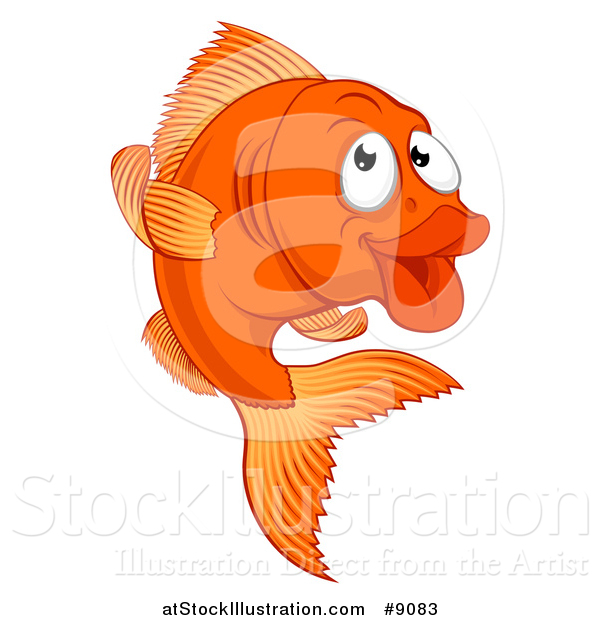 Vector Illustration of a Cartoon Happy Goldfish