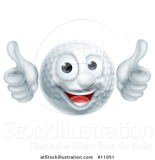 Vector Illustration of a Cartoon Happy Golf Ball Mascot Giving Two Thumbs up