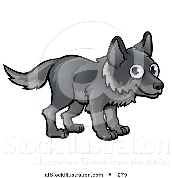 Vector Illustration of a Cartoon Happy Gray Wolf