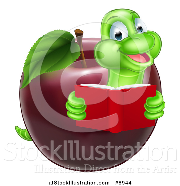 Vector Illustration of a Cartoon Happy Green Book Worm Reading and Emerging from a Red Apple