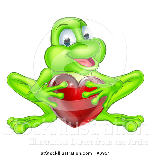 Vector Illustration of a Cartoon Happy Green Frog Crouching and Holding a Glassy Red Heart