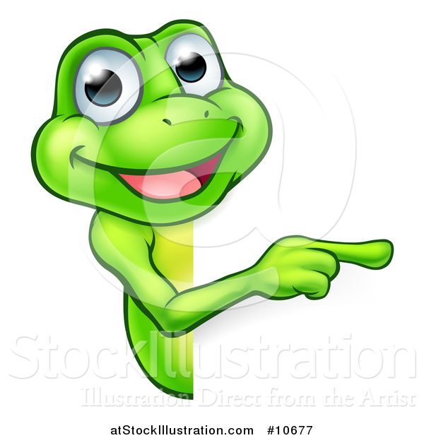 Vector Illustration of a Cartoon Happy Green Frog Mascot Pointing Around a Sign