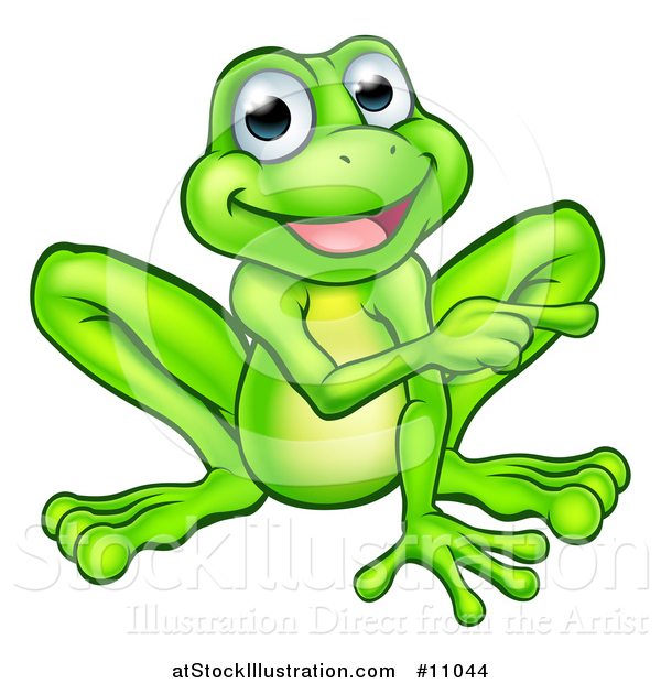 Vector Illustration of a Cartoon Happy Green Frog Mascot Sitting and Pointing