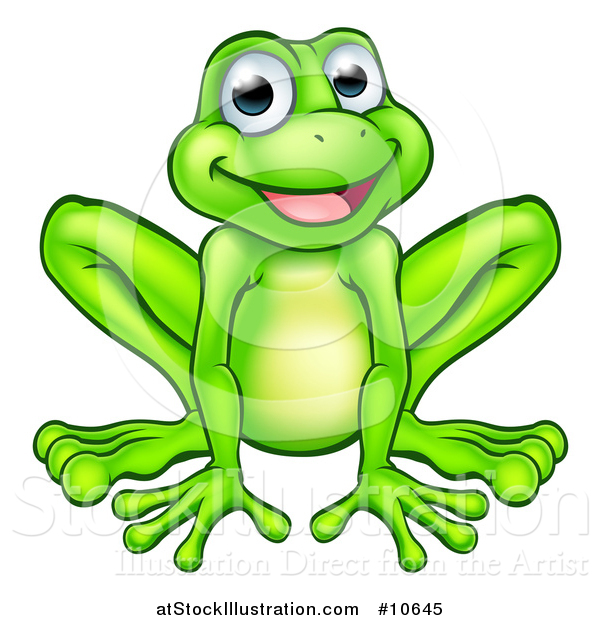 Vector Illustration of a Cartoon Happy Green Frog Mascot Sitting