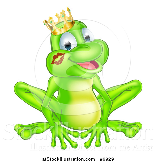 Vector Illustration of a Cartoon Happy Green Frog Prince with a Liptstick Kiss on His Cheek