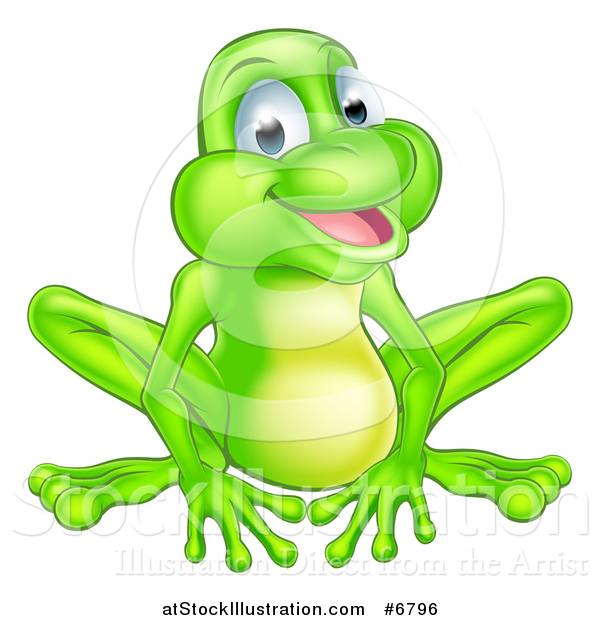 Vector Illustration of a Cartoon Happy Green Frog Sitting