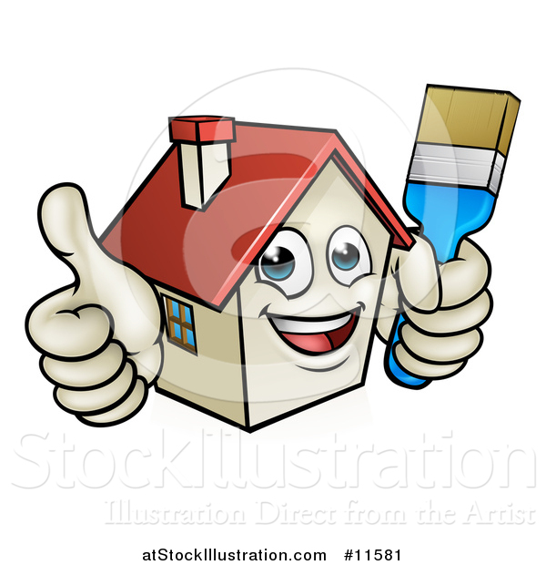 Vector Illustration of a Cartoon Happy Home Mascot Character Giving a Thumb up and Holding a Paintbrush