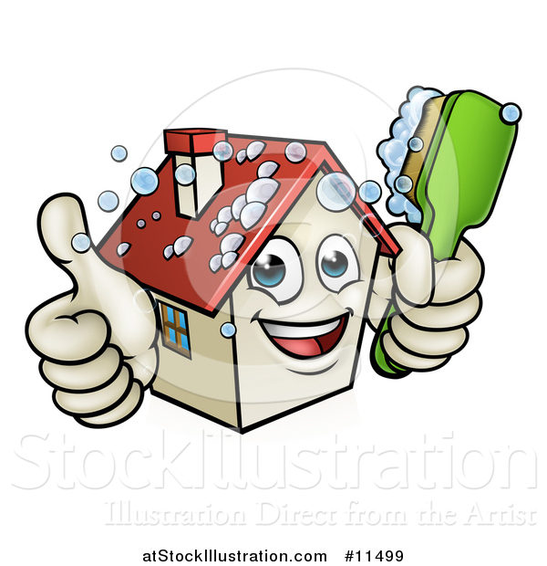 Vector Illustration of a Cartoon Happy House Character Giving a Thumb up and Cleaning Itself with a Brush