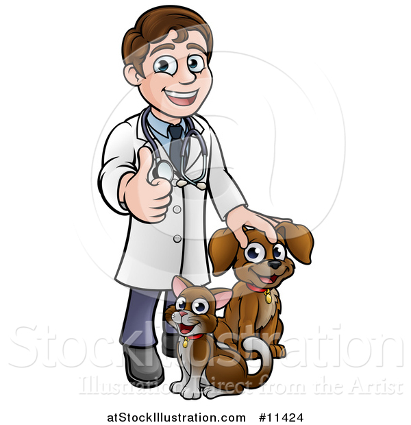 Vector Illustration of a Cartoon Happy May Veterinarian Giving a Thumb up and Standing with a Dog and Cat