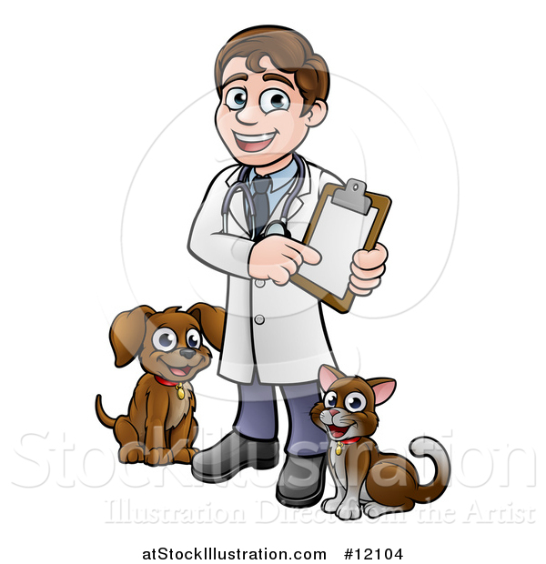 Vector Illustration of a Cartoon Happy May Veterinarian Holding a Chart and Standing with a Dog and Cat