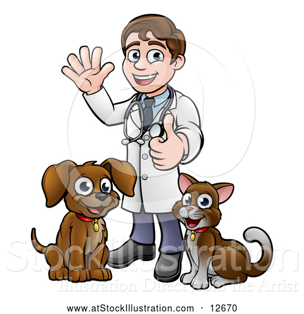 Vector Illustration of a Cartoon Happy May Veterinarian Standing with a Dog and Cat