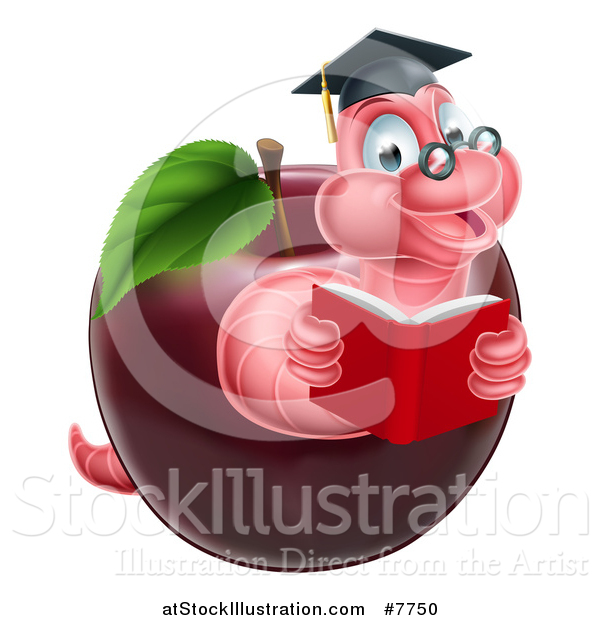 Vector Illustration of a Cartoon Happy Pink Graduate Book Worm Reading in a Red Apple