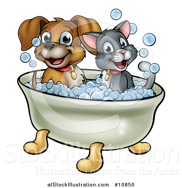 Vector Illustration of a Cartoon Happy Puppy Dog and Cat Soaking in a Bubble Bath
