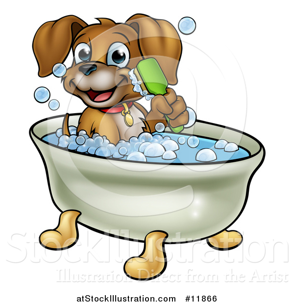 Vector Illustration of a Cartoon Happy Puppy Dog Holding a Brush and Soaking in a Bubble Bath