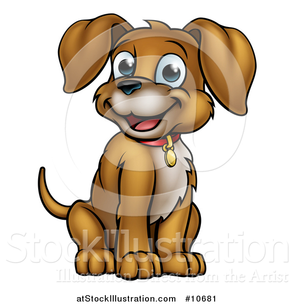 Vector Illustration of a Cartoon Happy Puppy Dog Sitting