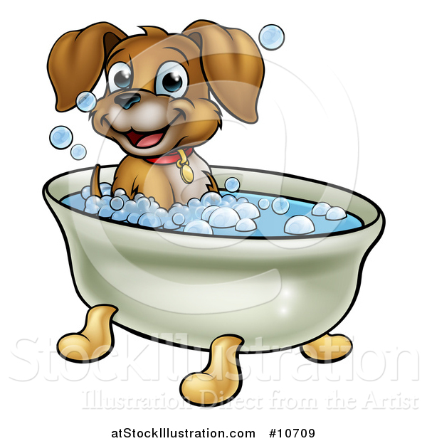 Vector Illustration of a Cartoon Happy Puppy Dog Soaking in a Bubble Bath