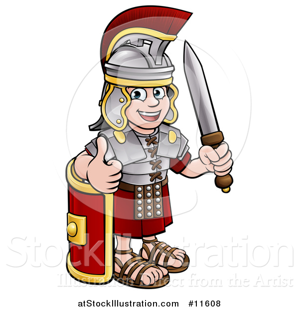 Vector Illustration of a Cartoon Happy Roman Soldier Giving a Thumb Up, Holding a Sword and Leaning on a Shield