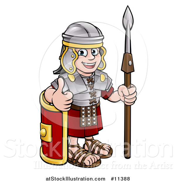 Vector Illustration of a Cartoon Happy Roman Soldier Holding a Spear, Leaning on a Shield and Giving a Thumb up