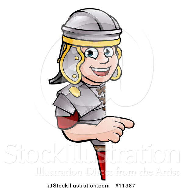Vector Illustration of a Cartoon Happy Roman Soldier Pointing Around a Sign