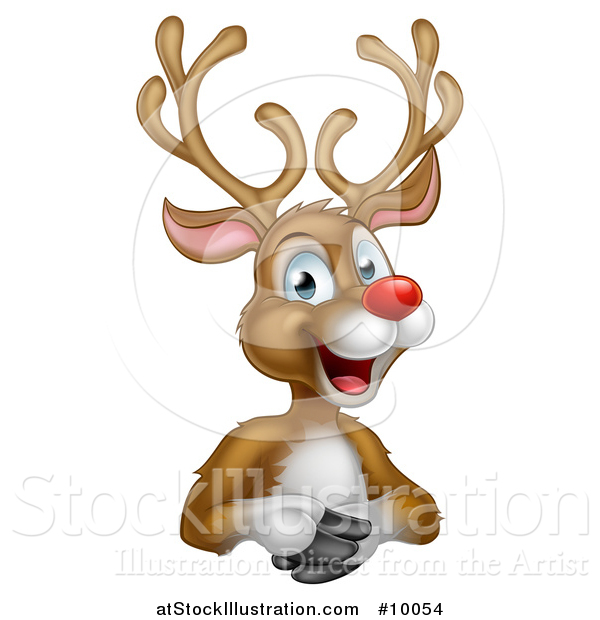 Vector Illustration of a Cartoon Happy Rudolph Red Nosed Reindeer over an Edge