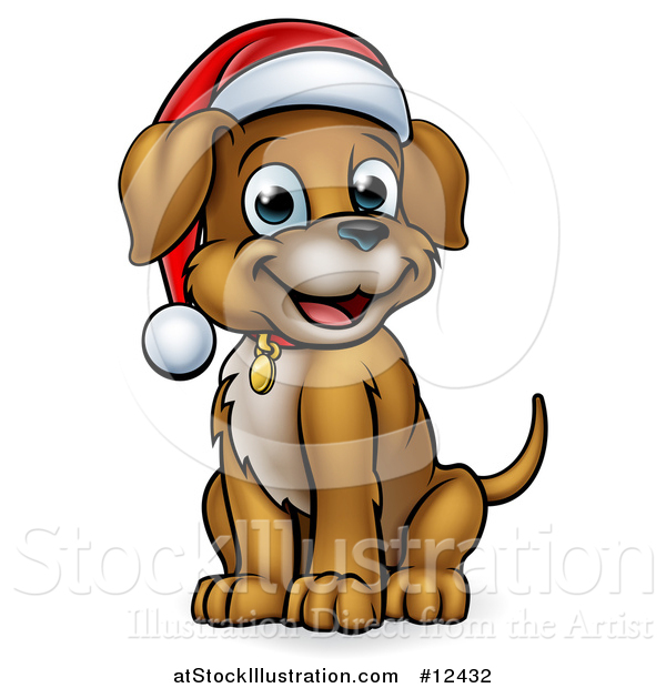 Vector Illustration of a Cartoon Happy Sitting Christmas Puppy Dog Wearing a Santa Hat