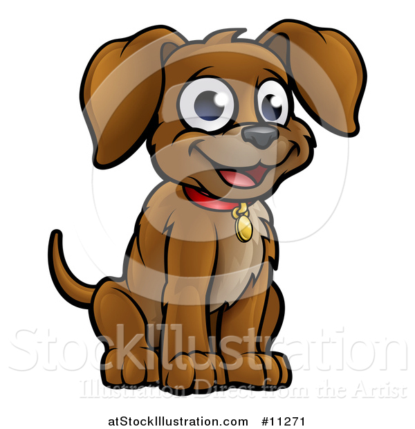 Vector Illustration of a Cartoon Happy Sitting Puppy