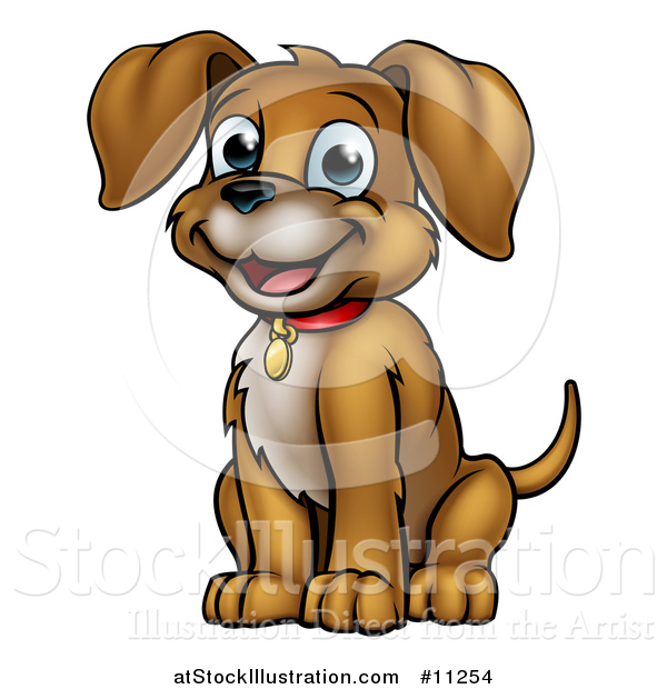 Vector Illustration of a Cartoon Happy Sitting Puppy Dog