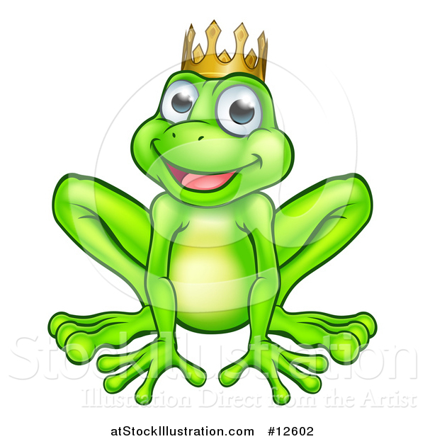 Vector Illustration of a Cartoon Happy Smiling Green Frog Prince