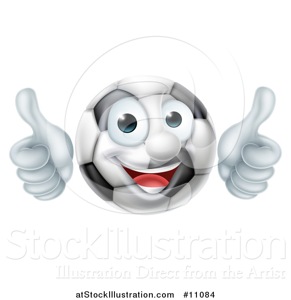 Vector Illustration of a Cartoon Happy Soccer Ball Mascot Character Giving Two Thumbs up
