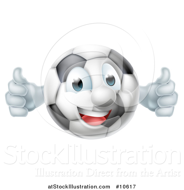 Vector Illustration of a Cartoon Happy Soccer Ball Mascot Giving Two Thumbs up
