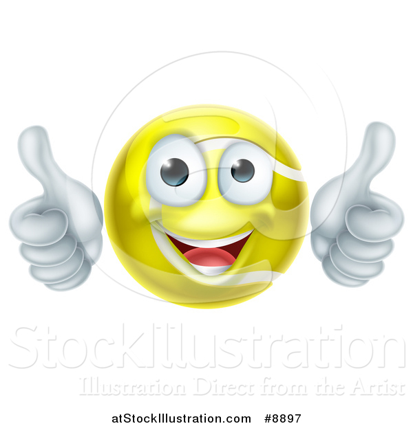 Vector Illustration of a Cartoon Happy Tennis Ball Character Giving Two Thumbs up